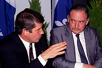Montreal. CANADA -    File Photo circa 1990 - <br /> Jean Dore, Montreal Mayor and Jacques Parizeau (R)<br /> <br /> File Photo : Agence Quebec Pressse  - Pierre Roussel