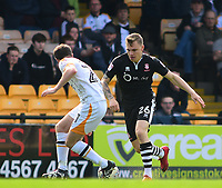 Lincoln City's Harry Anderson runs at Port Vale's Ryan Boot<br /> <br /> Photographer Andrew Vaughan/CameraSport<br /> <br /> The EFL Sky Bet League Two - Port Vale v Lincoln City - Saturday 14th April 2018 - Vale Park - Burslem<br /> <br /> World Copyright &copy; 2018 CameraSport. All rights reserved. 43 Linden Ave. Countesthorpe. Leicester. England. LE8 5PG - Tel: +44 (0) 116 277 4147 - admin@camerasport.com - www.camerasport.com