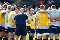 The Doncaster Knights players huddle together during the pre-match warm-up. Pre-season friendly match, between Doncaster Knights and Newcastle Falcons on August 25, 2018 at Castle Park in Doncaster, England. Photo by: Patrick Khachfe / Onside Images