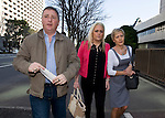 Andrew and Angela Furlong and their daughter Andrea  arrive at the Tokyo District Court for the third day of proceedings in the case of Richard Hinds, who is accused of murdering Nicola last May, in Tokyo, Japan on 05 March 2013. Photographer: Robert Gilhooly