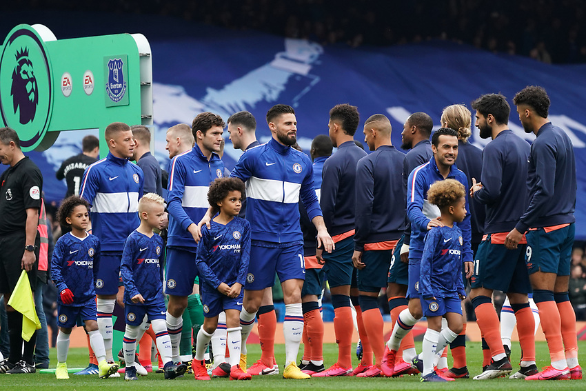 Chelsea and Everton replace the usual shaking of hands with nods as a precaution against Coronavirus<br /> <br /> Photographer Stephanie Meek/CameraSport<br /> <br /> The Premier League - Chelsea v Everton - Sunday 8th March 2020 - Stamford Bridge - London<br /> <br /> World Copyright © 2020 CameraSport. All rights reserved. 43 Linden Ave. Countesthorpe. Leicester. England. LE8 5PG - Tel: +44 (0) 116 277 4147 - admin@camerasport.com - www.camerasport.com