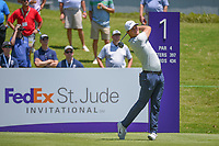 Lucas Bjerregaard (DEN) watches his tee shot on 1 during round 1 of the WGC FedEx St. Jude Invitational, TPC Southwind, Memphis, Tennessee, USA. 7/25/2019.<br /> Picture Ken Murray / Golffile.ie<br /> <br /> All photo usage must carry mandatory copyright credit (© Golffile | Ken Murray)