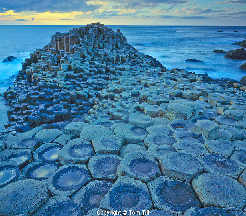 Giants Causeway and approaching storm, Giants Causeway National Park, Northern Ireland, United Kingdom