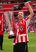 28th March 2010; Southampton's Rickie Lambert holds the Johnstone's Paint Trophy aloft after Saints beat Carlisle 4-1. Southampton v Carlisle United - Johnstone's Paint Trophy Final at Wembley Stadium, London, England, UK