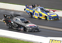 Sep 2, 2019; Clermont, IN, USA; NHRA funny car driver Ray Martin (near) defeats Ron Capps during the US Nationals at Lucas Oil Raceway. Mandatory Credit: Mark J. Rebilas-USA TODAY Sports
