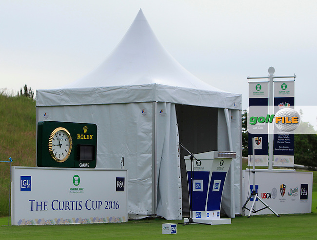 The starters hut on the 1st during the Friday morning Foursomes of the 2016 Curtis Cup at Dun Laoghaire Golf Club on Friday 10th June 2016.<br /> Picture:  Golffile | Thos Caffrey