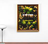 "Preston: Green Apples, Digital Print, Image Dims. 32"" x 24.75"", Framed Dims. 35.25"" x 28.25"""