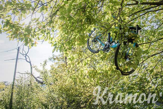The surreal sight of Jan Bakelants' (BEL/AG2R-LaMondiale) bike dangling 3 to 4 meters up in a tree after he was propelled over a barrier into a ravine with serious consequences; apparently breaking 7 ribs and 2 vertebras...<br /> <br /> Il Lombardia 2017<br /> Bergamo to Como (ITA) 247km
