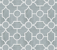 Chatham 1, a waterjet stone mosaic, shown in honed Bardiglio and polished Thassos, is part of the Silk Road collection by Sara Baldwin for New Ravenna.