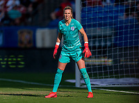 FRISCO, TX - MARCH 11: Carly Telford #1 of England looks to the ball during a game between England and Spain at Toyota Stadium on March 11, 2020 in Frisco, Texas.