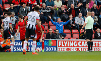 A Leyton Orient FC fan gives referee, Lee Swabey instructions during the Sky Bet League 2 match between Leyton Orient and Grimsby Town at the Matchroom Stadium, London, England on 11 March 2017. Photo by Carlton Myrie / PRiME Media Images.
