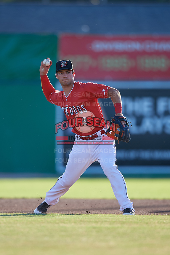 Batavia Muckdogs third baseman Denis Karas (9) throws to first base during a game against the West Virginia Black Bears on July 3, 2018 at Dwyer Stadium in Batavia, New York.  Batavia defeated West Virginia 5-4.  (Mike Janes/Four Seam Images)