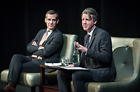 Los Angeles Mayor Eric Garcetti talks with Los Angeles Times architecture critic Christopher Hawthorne in Occidental College's Keck Theater in Los Angeles, Calif. on February 13, 2014. They discussed ways to make the city a more pleasant place to live and work.<br /> (Photo by Marc Campos, Occidental College Photographer)