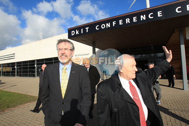Gerry Adams leaving the count centre ahead of being elected on the first count .at the Louth election count in the DKIT in Dundalk Co Louth..Picture: Fran Caffrey / www.newsfile.ie.