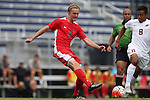 30 August 2015: Saint Mary's Max Mirner (3) and Elon's Miguel Salazar (MEX) (8). The Elon University Phoenix played the Saint Mary's College Gaels at Koskinen Stadium in Durham, NC in a 2015 NCAA Division I Men's Soccer match. Elon won the game 1-0.