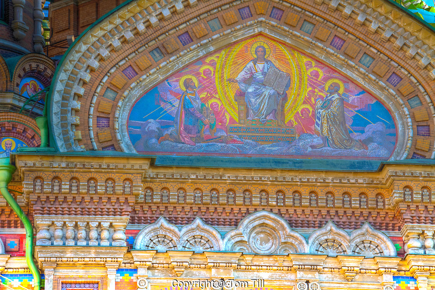 Detail of the Church of the Spilled Blood, Saint Petersburg, Russian Federation Site of muder of Alexander II in 1881