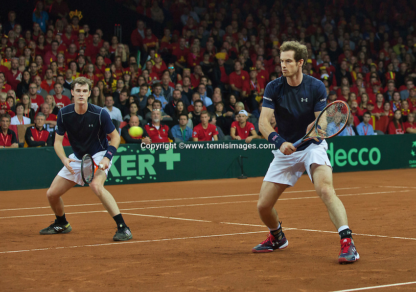 Gent, Belgium, November 28, 2015, Davis Cup Final, Belgium-Great Britain, day two, doubles match, Andy Murray(R)/Jamie Murray (GBR) <br /> Photo: Tennisimages/Henk Koster