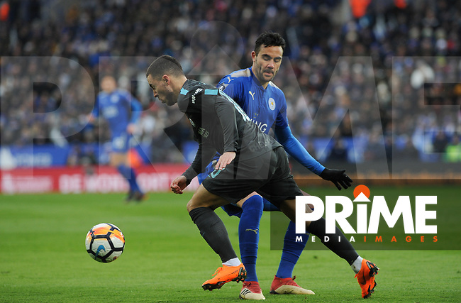 Eden Hazard of Chelsea goes past Vicente Iborra of Leicester City during the FA Cup QF match between Leicester City and Chelsea at the King Power Stadium, Leicester, England on 18 March 2018. Photo by Stephen Buckley / PRiME Media Images.