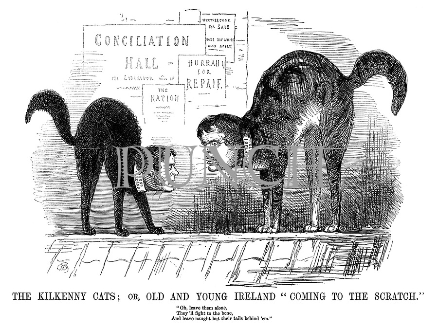 "The Kilkenny Cats; or, Old and Young Ireland ""coming to the scratch."" ""Oh, leave them alone, they'll fight to the bone, and leave naught but their tails behind 'em."""
