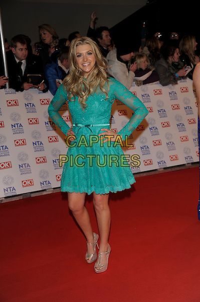 Anna Williamson.National Television Awards at the 02 Arena, London, England..January 23rd, 2013.NTA NTAs full length dress green lace dress turquoise hands on hips.CAP/PL.©Phil Loftus/Capital Pictures.