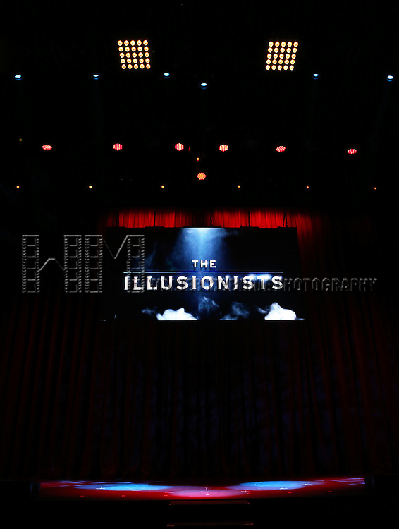 The stage for the press preview of 'The Illusionists' at Mariott Marquis Theatre on December 2, 2014 in New York City.