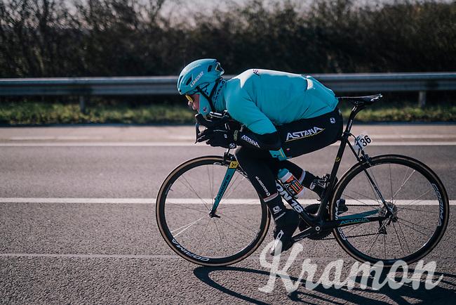 Truls Korsaeth (NOR/Astana) tucked for speed<br /> <br /> 70th Kuurne-Brussel-Kuurne 2018<br /> Kuurne › Kuurne: 200km (BELGIUM)