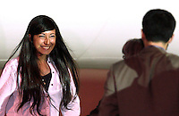 Rossella Urru sbarca all'aeroporto militare di Ciampino, Roma, 19 luglio 2012. La cooperante italiana e i due cooperanti spagnoli rapiti da un gruppo jihadista in Algeria e tenuti sequestrata per 10 mesi nel nord del Mali, sono stati trasferiti in Burkina Faso per poi fare ritorno nei rispettivi paesi. .Rossella Urru disembarks at Ciampino's military airport in Rome, 19 july 2012. Italian cooperant Rossella Urru and other two spanish cooperants kidnapped in Algeria and freed after being held for the past 10 months by a jihadist group in north Mali, landed in Burkina Faso before to go back to their homelands..UPDATE IMAGES PRESS/Riccardo De Luca