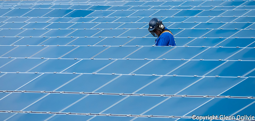 Unidentified workers trim grass and weeds around an array of panels located at Sarnia Solar located along Blackwell Sideroad. The plant was commissioned in 2010 as the world's largest solar plant at 440 hectare producing 80 MW-AC.