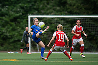 Seattle, WA - Thursday, May 26, 2016: Seattle Reign FC midfielder Kim Little (8) and Leah Williamson (14) of Arsenal Ladies FC. The Seattle Reign FC of the National Women's Soccer League (NWSL) and the Arsenal Ladies FC of the Women's Super League (FA WSL) played to a 1-1 tie during an international friendly at Memorial Stadium.