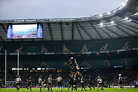 16th November 2019; Twickenham, London, England; International Rugby, Barbarians v Fiji; Barbarians and Fiji players compete for the line-out ball