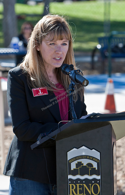 Junior League President Kristine Richter speaks at the grand opening of Inspiration Station, located at Dick Taylor Park in Reno.  The Junior League of Reno and the City of Reno celebrated the opening of the regions only universally accessible playground on Saturday afternoon, October 20, 2012.