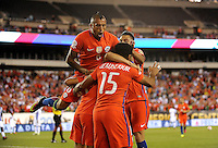 Philadelphia, PA - Tuesday June 14, 2016: Arturo Vidal, Jean Beausejour, Alexis Sanchez goal during a Copa America Centenario Group D match between Chile (CHI) and Panama (PAN) at Lincoln Financial Field.