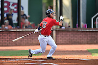 Elizabethton Twins shortstop Brandon Lopez (35) swings at a pitch during a game against the Bristol Pirates at Joe O'Brien Field on July 30, 2016 in Elizabethton, Tennessee. The Twins defeated the Pirates 6-3. (Tony Farlow/Four Seam Images)