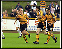 24/8/02         Copyright Pic : James Stewart                     .File Name : stewart-alloa v falkirk 23.BROWN FERGUSON (8) CELEBRATES OPENING THE SCORING BY ANDY SEATON (3) AND IAN LITTLE (11).....James Stewart Photo Agency, 19 Carronlea Drive, Falkirk. FK2 8DN      Vat Reg No. 607 6932 25.Office : +44 (0)1324 570906     .Mobile : + 44 (0)7721 416997.Fax     :  +44 (0)1324 570906.E-mail : jim@jspa.co.uk.If you require further information then contact Jim Stewart on any of the numbers above.........