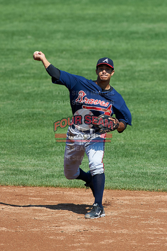 Michael Bell #9 of Langston Hughes High School in Fairburn, Georga playing for the Atlanta Braves scout team during the East Coast Pro Showcase at Alliance Bank Stadium on August 2, 2012 in Syracuse, New York.  (Mike Janes/Four Seam Images)