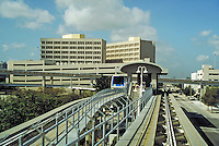 On the loop of the Metromover, Miami, Florida's new, low fare downtown transit system. Mass transit, monorail, public transportation, railroads, cityscape, skyline. Miami Florida, downtown Miami.
