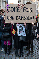 Rome, March 8, 2017. Women hold a banner where reads  Not like a doll, during a demonstration demanding equal rights for women and men, on the occasion of the Women's Day, in Rome.