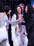 Stephanie J. Block, Micaela diamond, Teal Wicks, Michael Berresse and Cher during the Broadway Opening Night Curtain Call of 'The Cher Show'  at Neil Simon Theatre on December 3, 2018 in New York City.