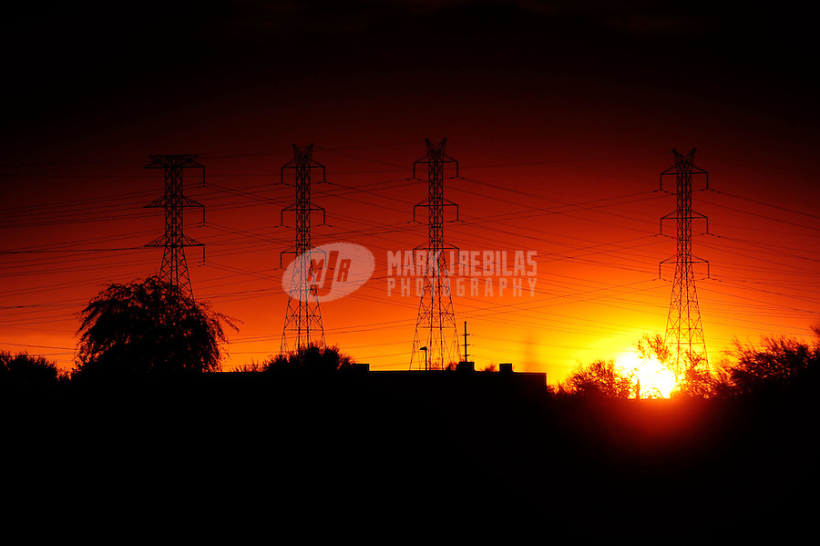 power lines electricity energy  Scottsdale Arizona mountain sun sunset poles electric APS SRP