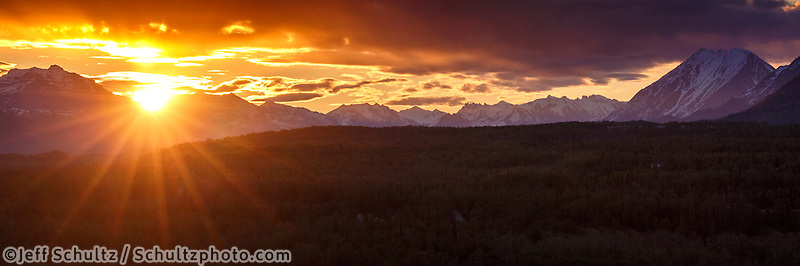 Spring landscape of sunrise over Talkeetna Mountains in Matanuska valley. Spring Southcentral, Alaska <br /> <br /> Photo by Jeff Schultz (C) 2016  ALL RIGHTS RESERVED