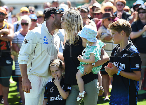 24.02.2016. Christchurch, New Zealand.  New Zealand captain Brendon McCullum and family at the presentations after losing the 2nd test match. New Zealand Black Caps versus Australia. Hagley Oval in Christchurch, New Zealand. Wednesday 24 February 2016.