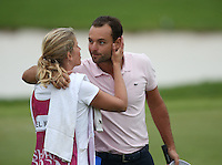A kiss from caddie girlfriend for Carlos Del Moral (ESP) as he maintains his T3 position after Round Three of The Tshwane Open 2014 at the Els (Copperleaf) Golf Club, City of Tshwane, Pretoria, South Africa. Picture:  David Lloyd / www.golffile.ie