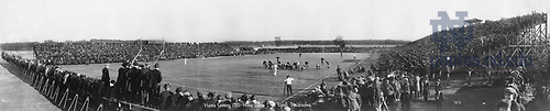GATH mc 02/03:  Football Game Day - Homecoming at Cartier Field - ND vs. Nebraska, 1921/1022.  Wide angle view of the field and stands..Image from the University of Notre Dame Archives.