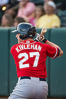 Patrick Kivlehan (27) of the Tacoma Rainiers on deck against the Salt Lake Bees in Pacific Coast League action at Smith's Ballpark on September 2, 2015 in Salt Lake City, Utah. Tacoma defeated Salt Lake 13-6.  (Stephen Smith/Four Seam Images)