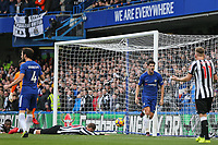 Alvaro Morata of Chelsea turns to celebrate scoring his goal 2 1 during the Premier League match between Chelsea and Newcastle United at Stamford Bridge, London, England on 2 December 2017. Photo by David Horn.
