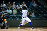 Luis Alexander Basabe (16) of the Winston-Salem Dash follows through on his swing against the Buies Creek Astros at BB&T Ballpark on April 15, 2017 in Winston-Salem, North Carolina.  The Astros defeated the Dash 13-6.  (Brian Westerholt/Four Seam Images)