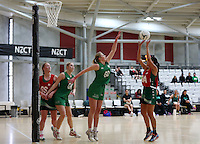 01.10.2015 Tokoroa's Te Awawhakawhitirua Gerrard-Nicholas in action during the Manawatu v Tokoroa netball match at the Netball NZ National Champs played at the ASB Sports Centre in Wellington. Mandatory Photo Credit ©Michael Bradley.
