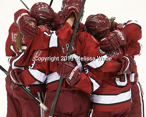 The Harvard University Crimson defeated the Boston University Terriers 3-0 in the 2013 Beanpot consolation game on Tuesday, February 12, 2013, at Matthews Arena in Boston, Massachusetts.