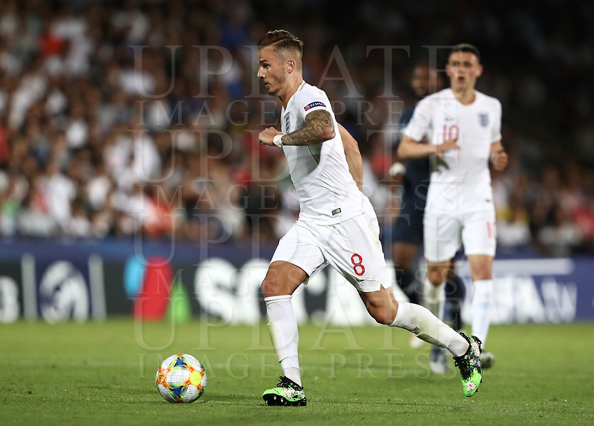Football: Uefa under 21 Championship 2019, England - France, Dino Manuzzi stadium Cesena Italy on June18, 2019.<br /> England's James Maddison in action during the Uefa under 21 Championship 2019 football match between England and France at Dino Manuzzi stadium in Cesena, Italy on June18, 2019.<br /> UPDATE IMAGES PRESS/Isabella Bonotto