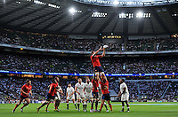 Alexandre Flanquart of France rises high to win lineout ball. QBE International match between England and France on August 15, 2015 at Twickenham Stadium in London, England. Photo by: Patrick Khachfe / Onside Images